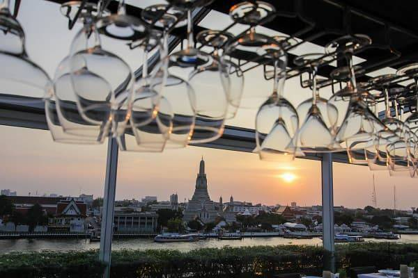 Happy hour at above riva  hotel riva arun bangkok